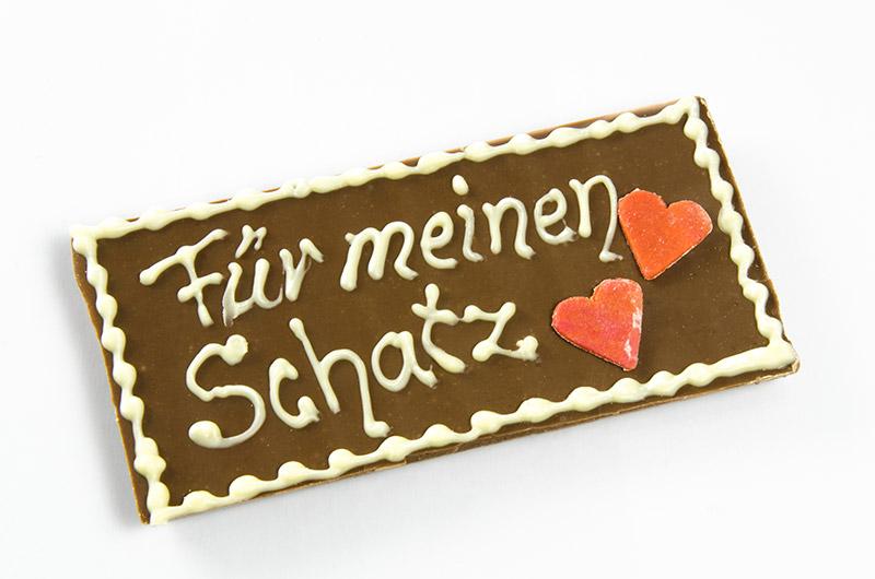 Schokoladentafeln im Cafe Besold am Weismain in der Fränkischen Schweiz.