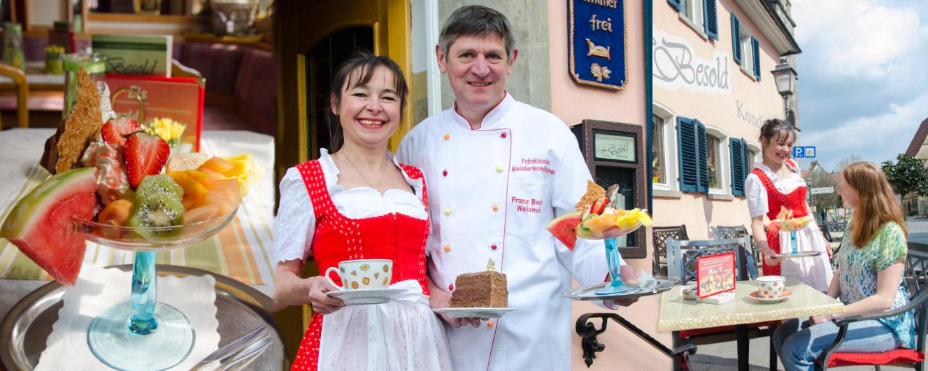 Ostern im Cafe, Konditorei, Confiserie Besold in Weismain, in der Fränkischen Schweiz
